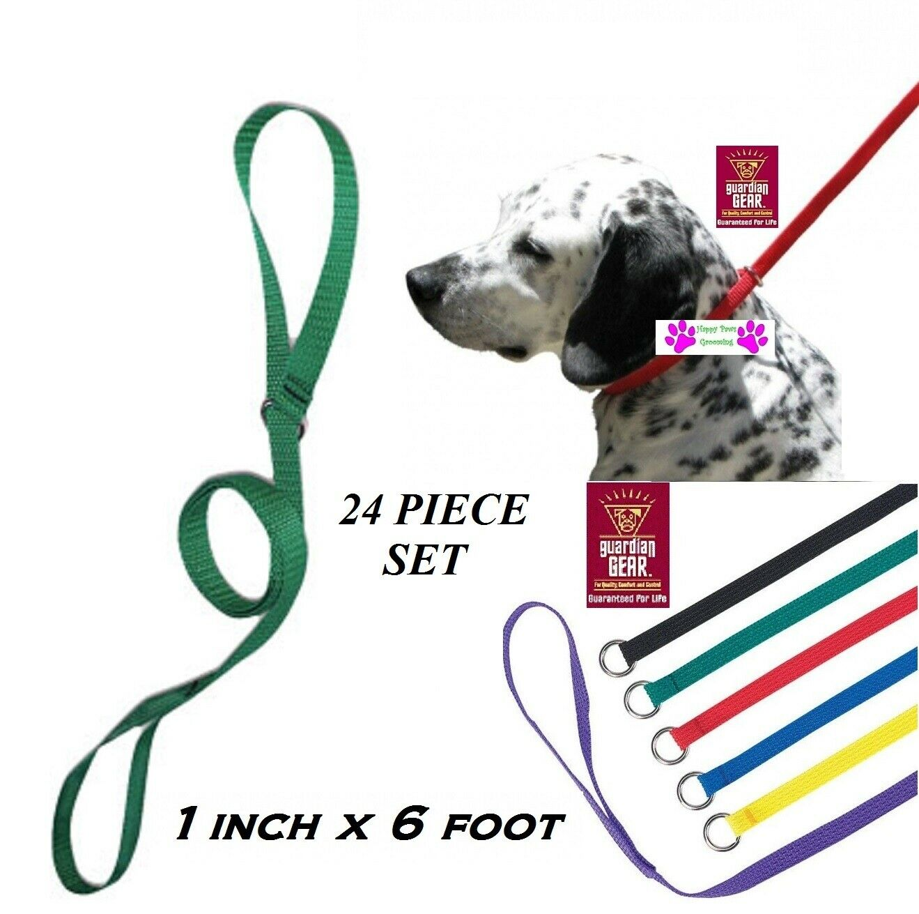 24pc Pet No SLIP KENNEL 1 in x 6 ft LEAD QuickFit Nylon LEASH ANIMAL DOG CONTROL