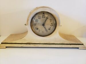 Antique 1920's NEW HAVEN Clock Co. Tambour Humpback Mantel Shelf Clock USA