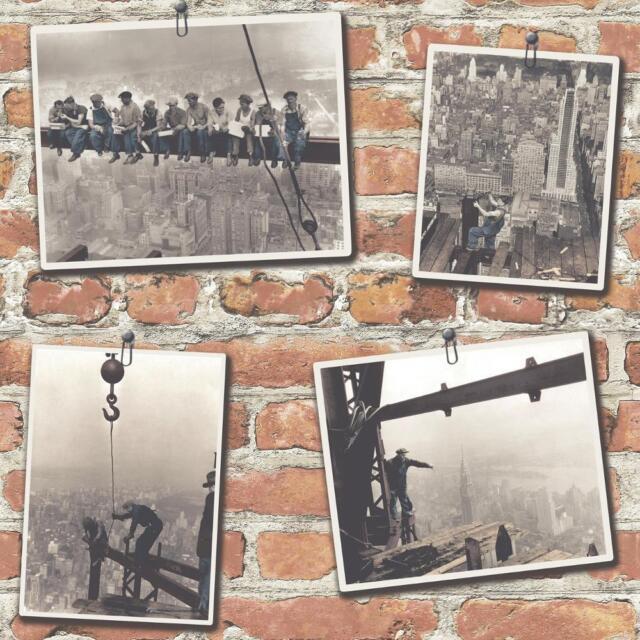 NEW RASCH PORTFOLIO NEW YORK RED BRICK BLACK WHITE PHOTOGRAPH WALLPAPER 325005