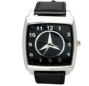 Mercedes-Benz-3d-chrome-square-sport-watch-black-real-leather-strap