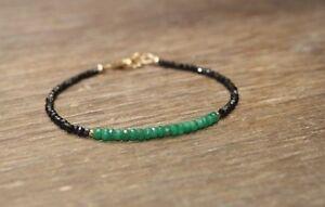 Natural-Black-Spinel-amp-Emerald-Faceted-Gemstone-Beads-Bracelet-14K-Gold-Over