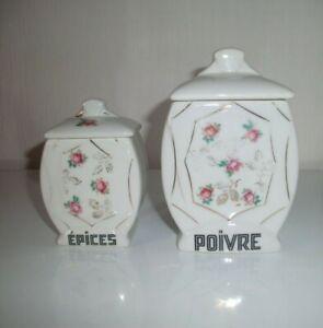 2-ANCIENS-POTS-A-EPICES-EN-PORCELAINE-MOTIF-FLEURS