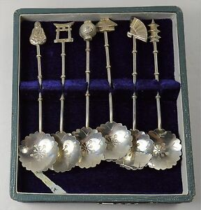 JAPANESE COFFEE 6 SPOON STERLING SET WITH BOX (L1)