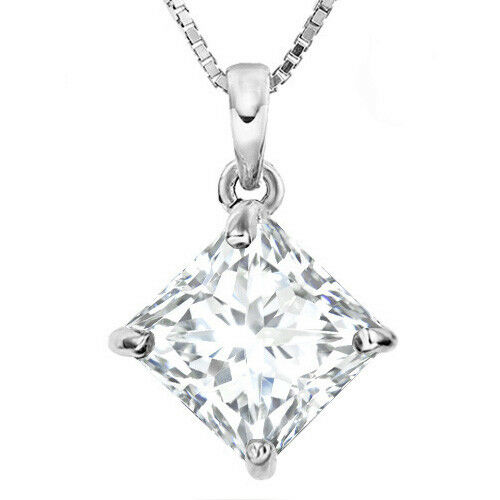 PRETTY 1 4 5 CARAT CREATED WHITE SAPPHIRE 14KT SOLID WHITE gold PENDANT