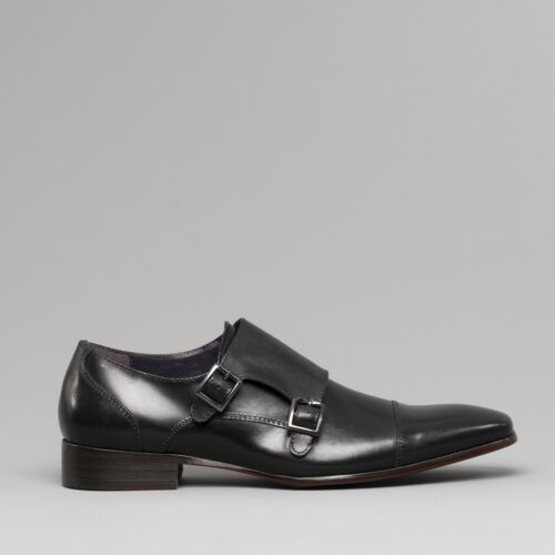 Gucinari SENNA Mens Toecap Leather Formal Dress Double Buckle Monk Strap Shoes