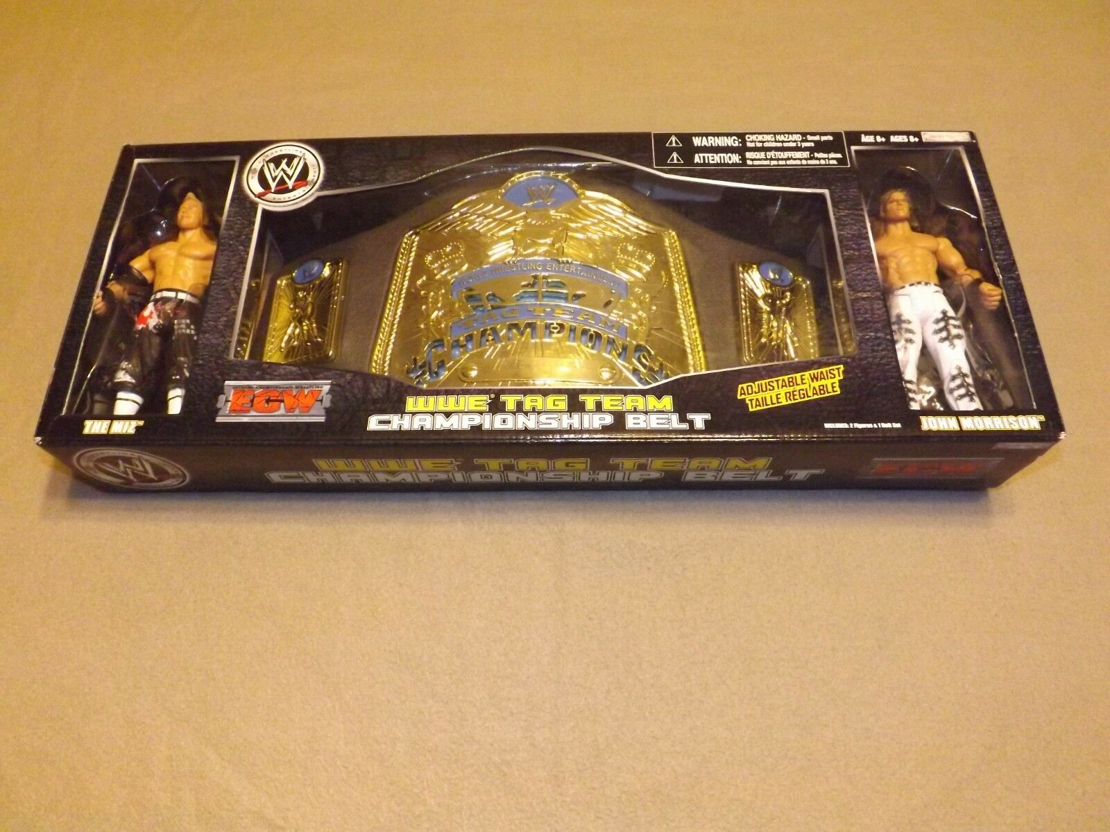 NEW IN UNOPENED BOX - Miz and John Morrison - WWE Tag Team Belt and 2 Figures.