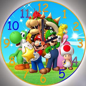 Wanduhr - Uhr für das Kinderzimmer - Super Mario Bros. Motiv 2 ...