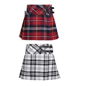 Girls Tartan Pleated Kilt Skirt  Mini Length Classical School Uniforms Skirts