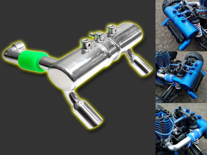 RDLogics 1Pc Twin Exhaust blu Jato Pipe for TRAXXAS JATO  61940B, blu color