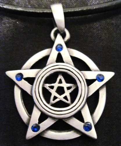 DBL PENTACLE STAR BLUE CRYSTAL PEWTER PENDANT NECKLACE