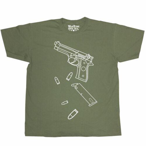 Beretta M92 Loose Bullet WarZone Edition Army Green T Shirt Sidearm Handgun BF4