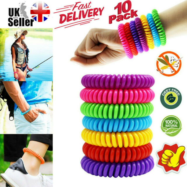 10 Anti Mosquito Insect Repellent Bracelet Natural Waterproof Spiral Wrist Bands