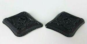 2-Vintage-Indiana-Black-Glass-Tiara-Diamond-Shaped-Candy-Nut-Trinket-Dish