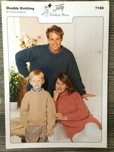"""7165 Teddy Knitting Pattern: Family Sweaters 24-46/"""" DK"""