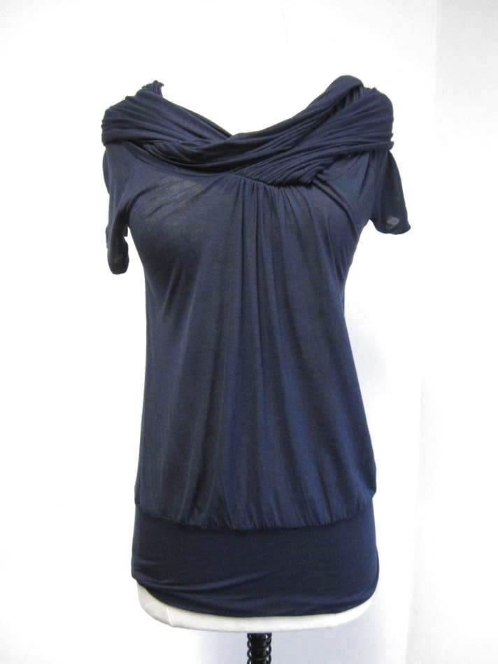 STELLA MCCARTNEY navy semi-sheer twisted scoop neck short sleeve top 38 2