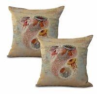 Us Seller-decorate Pillows Set Of 2 Ocean Jellyfish Sea Life Map Cushion Cover