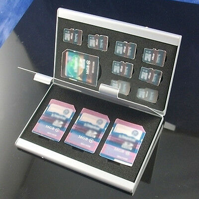 12 in 1 Aluminum Micro SD TF MMC Memory Card Storage Box Protecter Case Holder