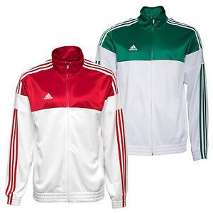 Adidas-Herren-3S-ESS-Trainingsjacke-Sport-Jacke-Firebird-Tracktop-Weiss-Rot-o-Gr
