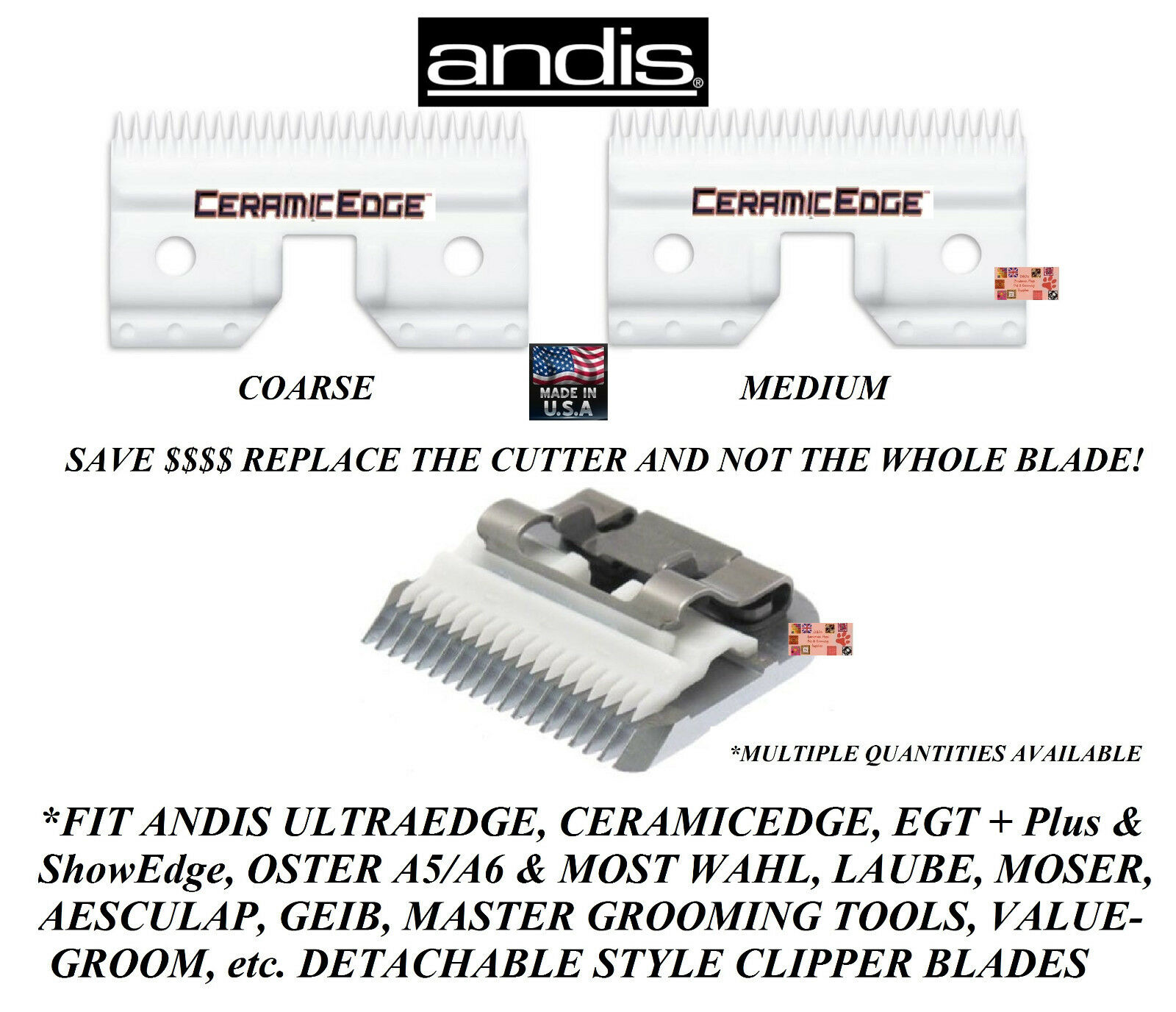 Andis Ceramic Edge Detachable Clipper Blade CUTTERFit Oster A5,Many Wahl,Geib