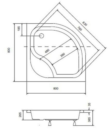 Duschwanne 80x80//90x90 x 24 cm Duschtasse Viertelkreis  DIPER I BO