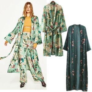 090ede76ce6 Women Floral Retro Printed Kimono Coat Jacket Maxi Shawl Tops Dress ...