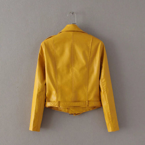Women Autumn Winter Synthetic Leather Biker Jacket