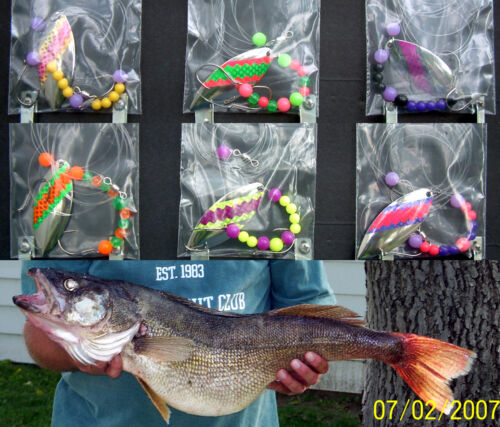harnesses Willowleaf #5 Lake Erie Walleye Candy Worm Harness set 6 1
