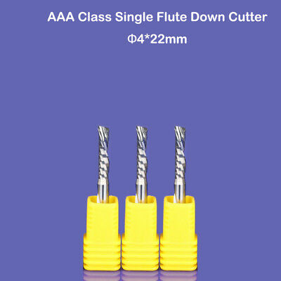 """3p Down Cut Single Flute Left Handed Helical Milling Cutter CNC Router 1//8/"""" 22mm"""