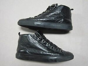 Details zu BALENCIAGA ARENA MENS SHINY EFFECT ALL BLACK HIGH TOP SNEAKERS SHOES SIZE 11.5