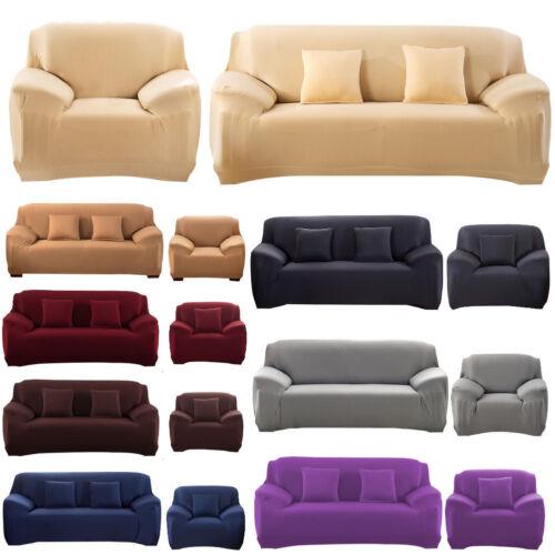 Unifarbe Sofahusse Sofabezug Universal Stretchhussen Rippstrick für 1-4er Sitzer