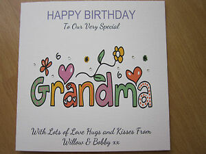 Personalised handmade birthday card grandma 60th 65th 70th image is loading personalised handmade birthday card grandma 60th 65th 70th bookmarktalkfo Image collections