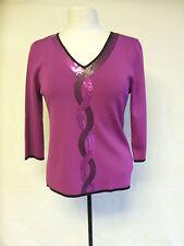 Ladies Top -  Vogue, size 12/14, dark pink, pink/black sequins, little worn 0339