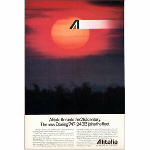 1980 Alitalia Airlines: Boeing 747 243B Joins the Fleet Vintage Print Ad