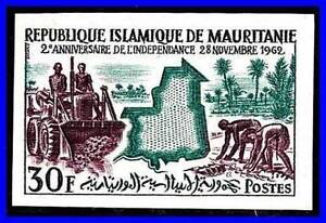 MAURITANIA-1962-FARM-WORKERS-SC-172-imperforate-MNH-TRACTORS-PALM-TREES-D056
