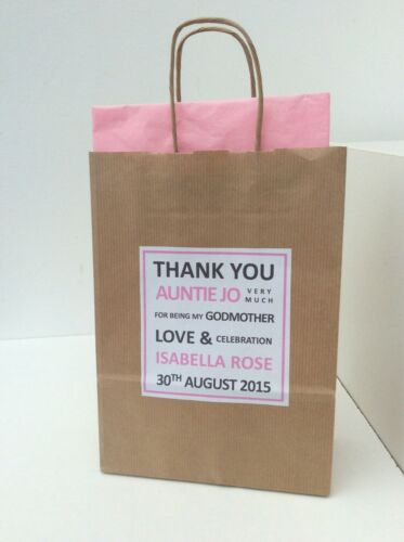 PERSONALISED CHRISTENING BROWN KRAFT GIFT BAG with tissue paper