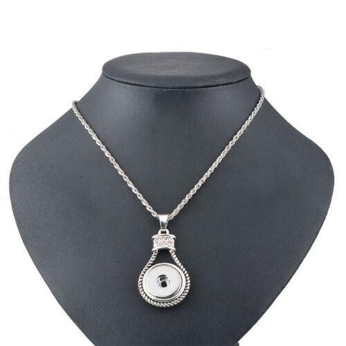 1 Halskette Halsschmuck Strass Anhänger für Druckknopf Click Buttons 54.5cm L//P