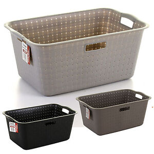 large plastic laundry basket handles rectangular washing clothes storage bin ebay. Black Bedroom Furniture Sets. Home Design Ideas