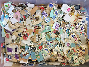Foreign-Stamps-Bulk-Lot-On-Paper-1-lb-Mix-For-Art-Crafts-Decoupage-Collage-etc