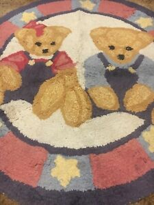 Image Is Loading Blue Jean Teddy Bear Circle Rug