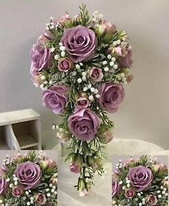 Silk wedding bouquet white gyp flower roses lilac rose pink dusty image is loading silk wedding bouquet white gyp flower roses lilac mightylinksfo