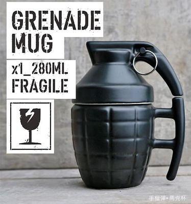 1pc Black Color Creative Coffee Mug Birthday Gift Grenade Water Tea Cup