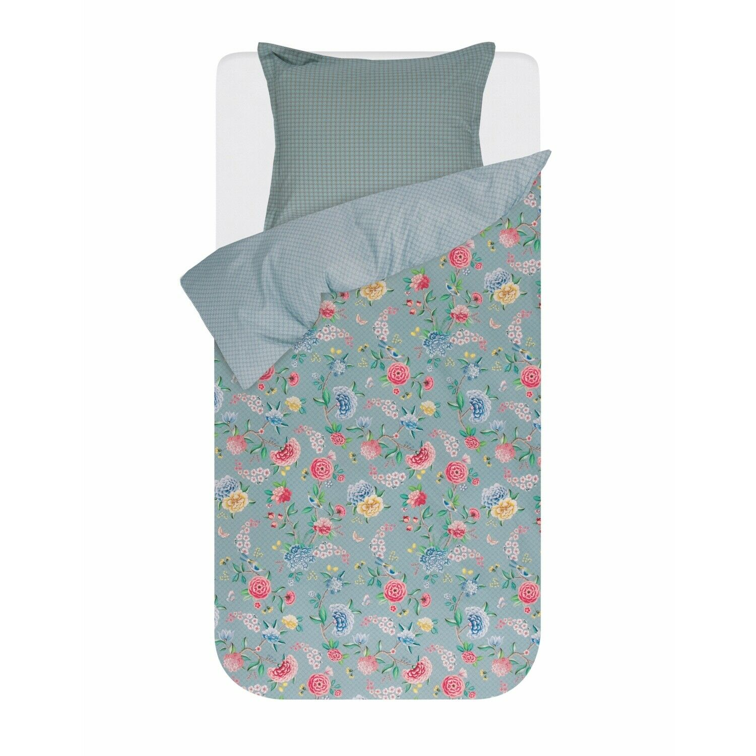 Pip Studio linge de lit Good Night Bleu Fleurs Pétales A Motifs Bordure percale