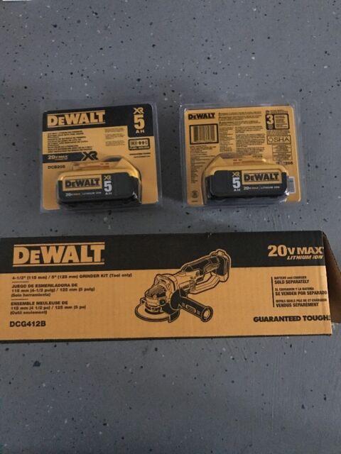 "Dewalt DCG412B 20V Cordless Angle Grinder 4-1/2"" NEW Cut Off Tool DCB205-2"