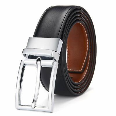 Marshal Men/'s Genuine Leather Reversible Belt with Rotated Buckle Black Brown