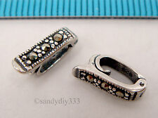 1x STERLING SILVER MARCASITE PEARL SHORTENER ENHANCER CLASP BAIL CONNECTOR #2268