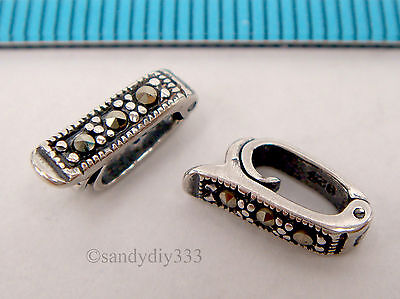 3 STERLING SILVER MARCASITE PEARL SHORTENER ENHANCER CLASP BAIL CONNECTOR #2268A