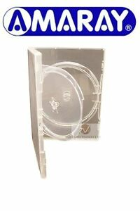 Double-Clear-DVD-Case-14-mm-Spine-with-Inner-Swing-Tray-Holds-2-Disks-Amaray