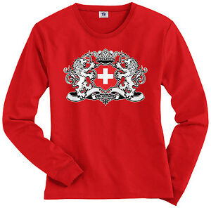 Threadrock-Women-039-s-Switzerland-Lion-Crest-Flag-Long-Sleeve-T-shirt-Swiss-Shield