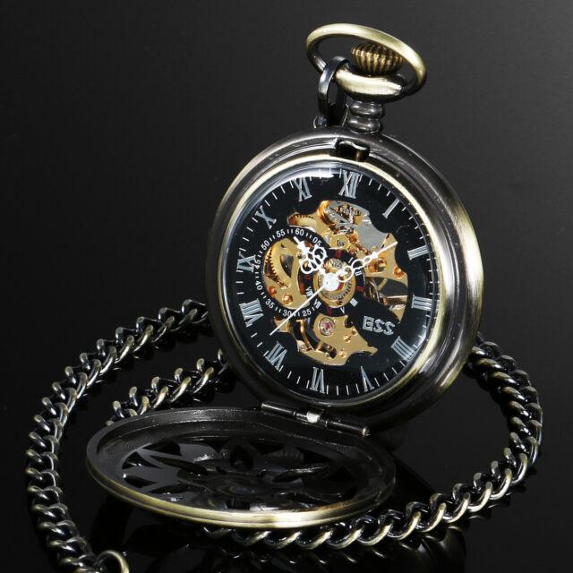 ESS Pocket Watch Men's Bronze Mechanical Case Black Dial Vintage Movement Gift