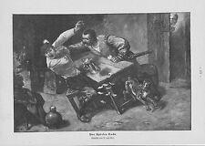 """""""Des Spielers Ende"""" Kartenspieler Streit Hund HOLZSTICH von 1905 Genrebild"""